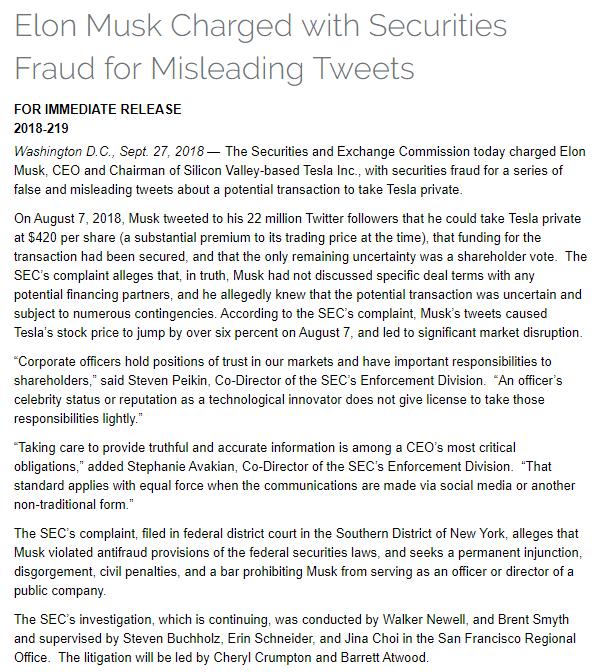 马斯克被SEC起诉欺诈罪,或丢掉特斯拉CEO职务