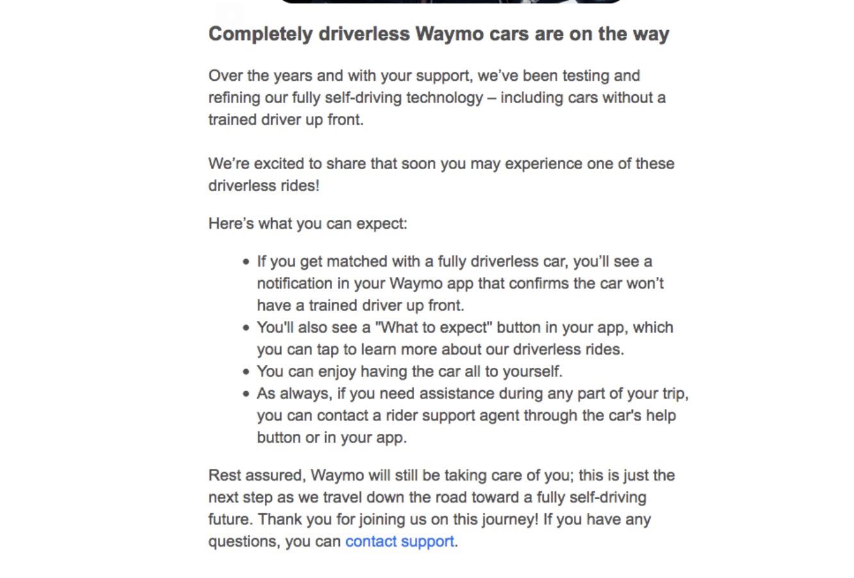 Waymo通知用户:你可能打到完全无人驾驶网约车