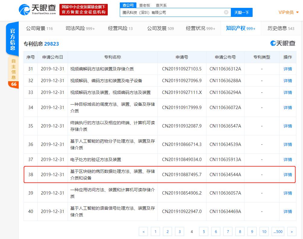 """布局区块链落地应用?腾讯申请""""区块链+病历数据""""等专利"""