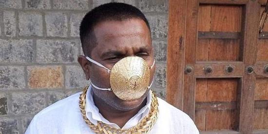造价2万8!印度富商戴金口罩炫富 网友:无法理解